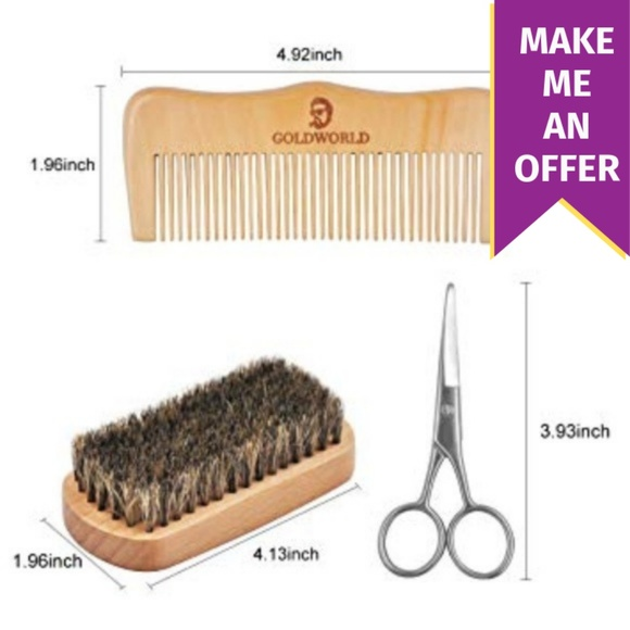 Beard Grooming Kit (Brush, Wood Comb, & Scissors) NWT